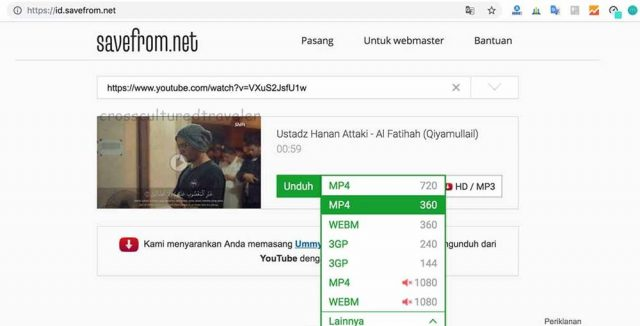 Cara download video youtube Savefrom.net