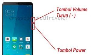 Screenshot Xiaomi Menggunakan Tombol
