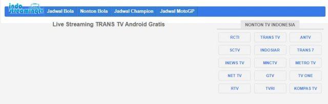Daftar Kanal TV yang Dapat Diakses Melalui IndoStreamingTV.com