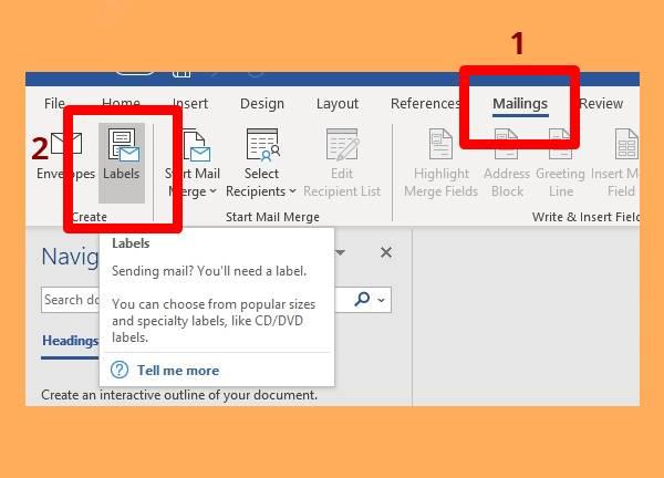 1 - Klik Mailings lalu Pilih Labels
