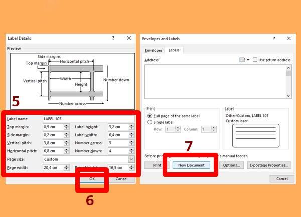 3 - Masukkan Detail Format Label Undangan 103 DOC, lalu Tekan Ok, Kemudian Pilih New Document